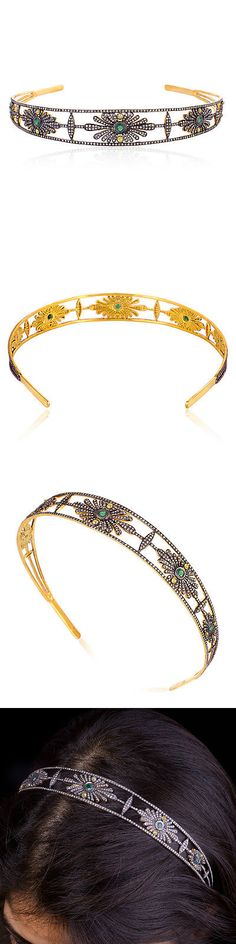 Hair and Head Jewelry 110620: Natural Emerald Designer Headband 925 Sterling Silver Pave Diamond Women Jewelry -> BUY IT NOW ONLY: $1499.5 on eBay!