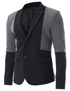 FLATSEVEN Mens Black and Grey Color Block Two Tone Single Blazer Jacket (BJ311), Boys M FLATSEVEN #mens blazer #mens fashion #denim #blazer #menswear #casual #clothing mens #clothes for mens