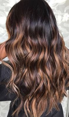 Balayage is suitable for light and dark hair, almost all lengths except very short haircuts. Today I want to show you the most popular Brunette Balayage Hair Color Ideas. Balayage has become the biggest trend in recent seasons, and it's not over yet. Brown Ombre Hair, Brown Hair Colors, Burgundy Hair, Deep Burgundy, Shades Of Brown Hair, Hair Colours Caramel, Black Hair With Ombre, Nice Hair Colors, Dark Hair With Color