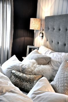 I love the mix of #textures both hard and soft. I would love something like this clean, white gray &black but w added #red accents