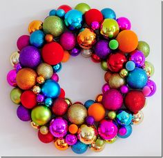 Colorful ornament wreath. I think I could manage this little DIY.