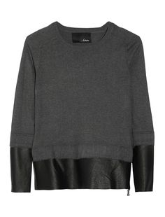 Line - Vanguard Leather Paneled Knit Sweater