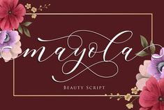 Mayola is a thin lettered and graceful script font. Fall for its ravishing style and use it to create gorgeous... Wedding Script, Script Fonts, Lettering, Create, Fall, Artwork, Beauty, Decor, Style