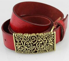 Vintage Buckle genuine leather woman cowskin belt * High Quality Belts # TG Leather