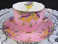 ROYAL ALBERT CANDY PINK HP PANSY PURPLE TEA CUP AND SAUCER | Pottery & Glass, Pottery & China, China & Dinnerware | eBay!