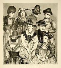 1870 Wood Engraving Art Bavarian Peasants German Folk Costume European Fashion