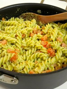 Pasta with Fresh Basil Pesto Cream Sauce. Was very good! I added 2 grilled chicken breasts to mine.