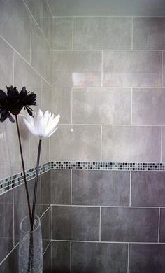 Grey Bathroom Design via liftupthyneighbor. - Grey Tile Bathroom Ideas
