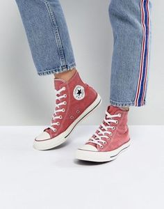 Converse Chuck Taylor All Star Hi Sneakers In Stonewashed Red