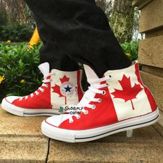 2e5b7157311aad Converse Shoes Canada Flag Men Women Hand Painted Canvas Sneakers. All Star  ...