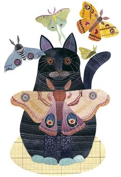 I love that Geninne posts lots of in progress to the finished painting. As a side note, I LOVE cats but I'm TERRIFIED of moths! They are the only thing in the world that scares me! I Love Cats, Crazy Cats, Cute Cats, Illustration Photo, Illustrations, Illustration Artists, Frida Art, Image Chat, Cat Drawing