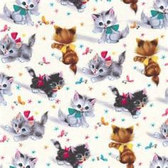 Michael Miller Retro Fabric Kitties Cat Fabric 2 3 Yard for sale online Cat Fabric, Retro Fabric, Kittens Playing, Cats And Kittens, Black And White Kittens, Michael Miller Fabric, Print Wallpaper, Cotton Quilts, Cotton Fabric