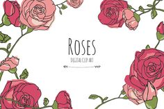Beautiful roses for your next digital design. These lovely flowers are the perfect way to add a delicate, hand-drawn look. These would look great as part of a wedding invitation design!