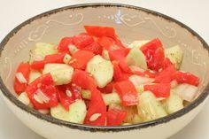 Garden Fresh Cucumber Salad - Tomatoes, onions, and cucumbers were made to go together. www.ultimatedanielfast.com
