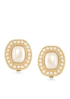 Carolee  Casablanca Cachet Pave Pearl Button Clip On Earrings