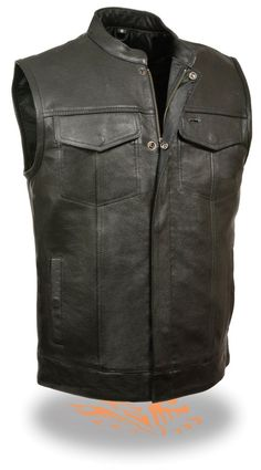 Perfect for Patches Men/'s Zipper Front Leather Side Lace Vest w// Gun Pockets