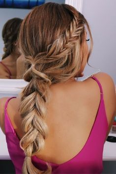 """14 Of The Cutest Fishtail Braided Summer Hairstyles for Women With Long Hair = amzn_assoc_tracking_id = amzn_assoc_ad_mode = """"manua. Valentine's Day Hairstyles, Shaved Side Hairstyles, Braided Hairstyles For Black Women, Box Braids Hairstyles, Pretty Hairstyles, Fashion Hairstyles, Hairstyles Pictures, Curly Hair Styles, Bridesmaids"""