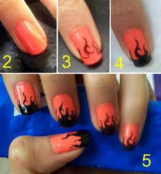 Halloween Flame Nails How-to: 1) White or neutral-colored nail polish 2) Orange nail polish 3) Draw flame outlines with a nail pen or Sharpie 4) Fill in flame with black polish 5) Finish with topcoat