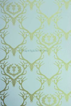 Van Liew Mckeown Deer Damask Wallpaper Aqua wallpaper with gold stag head and antlers with thistle design