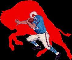 Buffalo Bills Alternate Logo (1965) - A player running besides a charging Buffalo