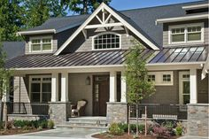 Traditional exterior, house with metal roof, tin roof house, black metal ro House Siding, House Roof, Style At Home, Exterior House Colors, Exterior Design, Roof Design, House Design, Metal Roof Houses, Brick Houses