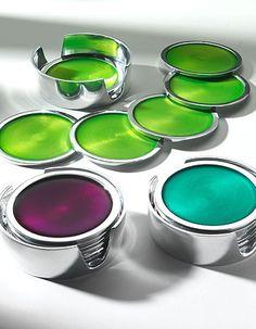 Set of 6 Aluminium Coasters in Holder