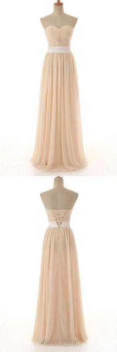 Long Bridesmaid Dresses, Modest Bridesmaid Dresses, Sweetheart Bridesmaid Dress, Chiffon Yellow Bridesmaid Dresses