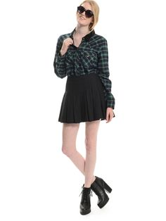 Shop ModDeals.com for Green Check Mate Button Up Blouse  in our cheap trendy Tops category. Find trendy cheap clothing for women, discount shoes, jewelry sales, perfume & cheap accessories for women.