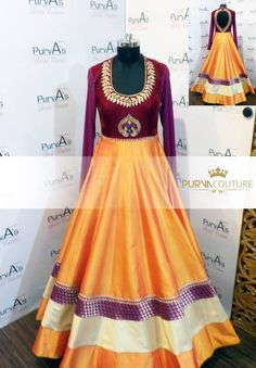 color; gher ; anarkali ; maroon yellow