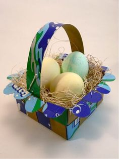 Raid your recycle bin for cardboard cereal and pizza boxes, and you can create pretty, sturdy baskets in lots of colors!