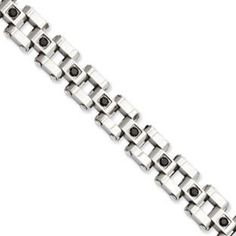 Men's Polished Stainless Steel 1 Carat Black Diamond Bracelet Available Exclusively at Gemologica.com