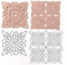 Hooked on crochet: motifs Crochet Motif Patterns, Crochet Blocks, Crochet Diagram, Crochet Chart, Crochet Squares, Crochet Designs, Granny Squares, Beau Crochet, Crochet Diy
