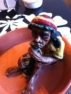 """I handcrafted and painted this at the Flea Market, and he is now up for sale. This is """"old rasti."""""""