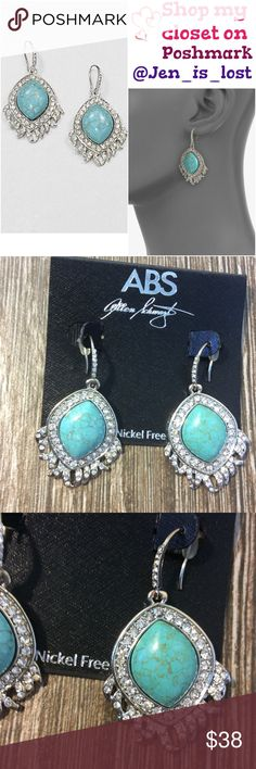 """ABS by Allen Schwartz  Feather Drop Earrings Glittering stones frame pretty, reconstituted turquoise cabochons in a feather drop design. Reconstituted turquoise Glass Silvertone Drop, about 2"""" Hook back New with tags purchased from Saks sold out quick and did not wear. My loss your gain. ABS Allen Schwartz Jewelry Earrings"""