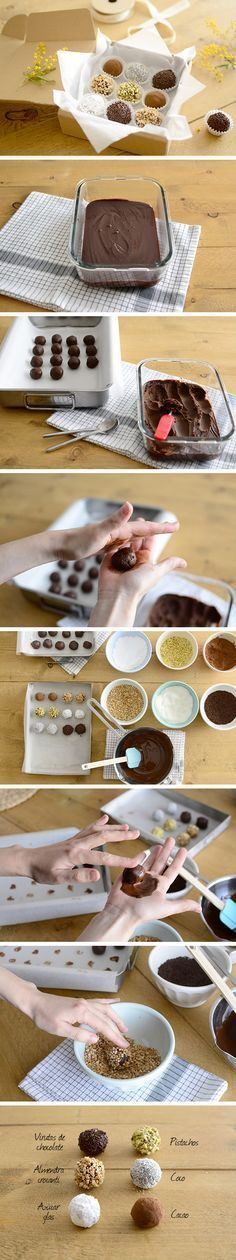 Chocolate truffles with different toppings - Trufas de chocolate com coberturas variadas Candy Recipes, Sweet Recipes, Dessert Recipes, Just Desserts, Delicious Desserts, Yummy Food, Love Chocolate, Love Food, Fudge