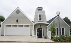 Gray House What Color Door | ... (gray/beige) and white trim. Black front door and lantern lights
