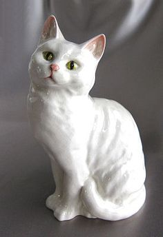 Beswick Figurine Standing White Cat #1030 from whimseysantiques on Ruby Lane