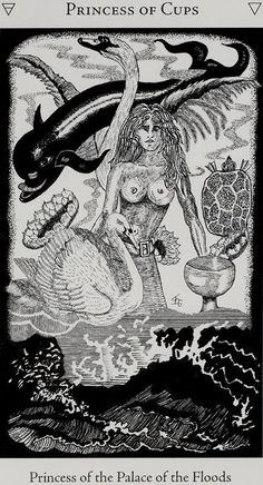 Princess of Cups - Hermetic Tarot (princess of the palace of the floods) Creatures Of The Night, Weird Creatures, Tarot Card Decks, Tarot Cards, Hermetic Tarot, Venus And Mars, Tarot Card Meanings, Deck Of Cards, Sacred Geometry