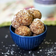 These Date Energy Balls are a quick and easy treat, perfect for snacking! This recipe is dairy-free with no sugar added and also paleo and vegan friendly. Paleo Dessert, Vegan Desserts, Raw Food Recipes, Healthy Recipes, Primal Recipes, Free Recipes, Paleo Treats, Healthy Snacks, Protein Snacks