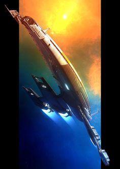 The Normandy 2 by GrahamTG on DeviantArt Spaceship Art, Spaceship Design, Spaceship Concept, Robot Design, Concept Ships, Concept Art, Mass Effect Ships, Mass Effect 1, Mass Effect Universe
