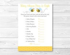 Bumble Bee Price Is Right Baby Shower Game By LittlePrintsParties
