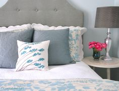 Storm gray and niagara blue with white accents - color scheme for master suite