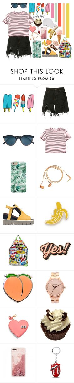"""""""summer"""" by gadzillas ❤ liked on Polyvore featuring Tattly, Faith Connexion, Oliver Peoples, Happy Plugs, Strategia, Georgia Perry, Moschino, Anya Hindmarch, PINTRILL and Nixon"""