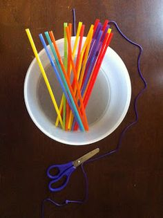 Tray activity- cut up straws, thread them like beads to make necklaces.  cutting practice, fine motor  - repinned by @PediaStaff – Please Visit  ht.ly/63sNt for all our ped therapy, school & special ed pins