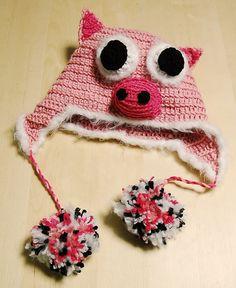 Pig Hat Crochet Animal Hat Earflap Hat by RootWisdom on Etsy