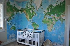 This wall map mural