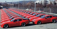1981, Porsche factory Stuttgart. 59 exotic 924 Carrera GTS's (including 15 lightweight Club Sport's) await delivery to their very lucky and fortunate owners.  #porsche #porscheporn #porscheclassic #classicporsche #porsche924 #carreragts #clubsport #car #carporn #classiccar #1981 #sportscar #exoticcar #rarecars #deutch #deutchland #germancars