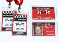 Race Car Party Drivers Licenses   Pit Crew Passes   Printable Templates