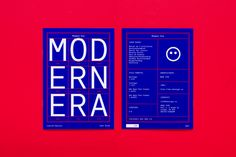Modern Era is a sans-serif type family consisting of 12 styles from Light to Black with corresponding italics and four accompanying monospace styles.