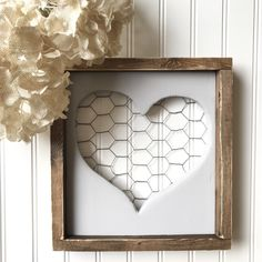Farmhouse heart sign with chicken wire, Valentine's Day sign, heart sign by Thebannergirls on Etsy https://www.etsy.com/listing/502619137/farmhouse-heart-sign-with-chicken-wire